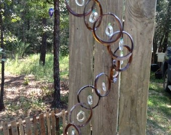 GLASS WINDCHIMES from RECYCLED bottles, eco friendly,brown clear, garden decor, wind chimes, mobiles, musical, windchimes
