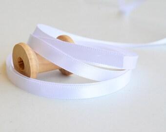 """5yd White Satin Ribbon  1/4""""  width -White Ribbon -White Sateen Ribbon -White Sateen Ribbon -Ribbon Supply"""