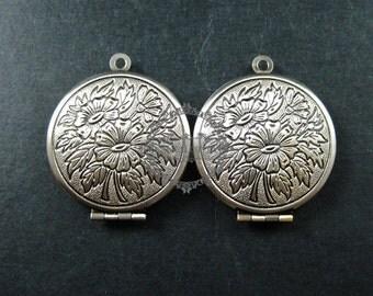 5pcs 27mm vintage style antiqued silver flower photo locket pendant charm DIY supplies 1113026