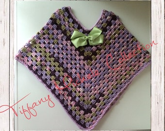 Purple Party Poncho Crochet Girls with Hair Bow