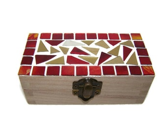 Red and Gold Stained Glass Mosaic Jewelry Trinket Box
