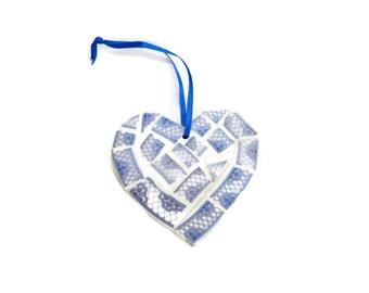 Mosaic Wall Art - Small Blue and White Mosaic Heart