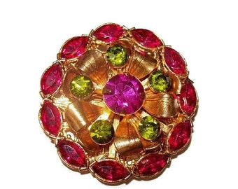 "Judy Lee Brooch Pin Pink Lime Green Rhinestones Gold Filigree Metal  2"" Vintage"