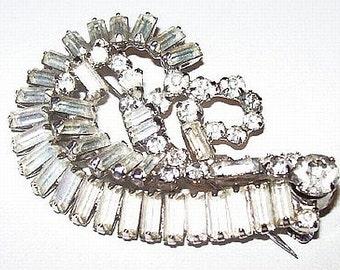 "Rhinestone Wedding Brooch Baguettes Silver Metal Juliana Hollywood Glamour 2.5"" Vintage"