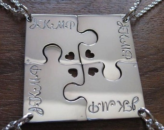 Four Corner Puzzle with Four initials and Hearts, Silver Pendant Necklaces