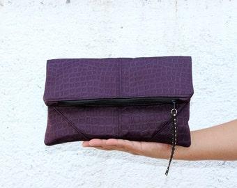 Vegan Clutch, fold over clutch, Faux Crocodile in deep purple, minimalist desing. Bridesmaid clutch, weeding clutch.