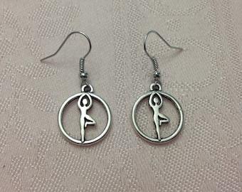 Silver Yoga Tree Pose Earrings