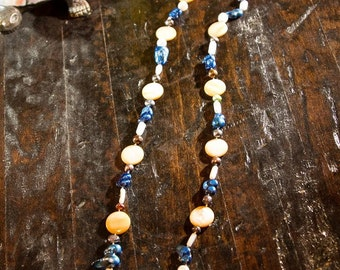 Blue, White, And Ivory beaded necklace