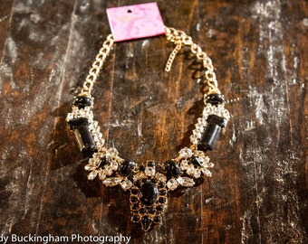 Sale! Black and Crystal bib statement necklace- maid of honor, bridal