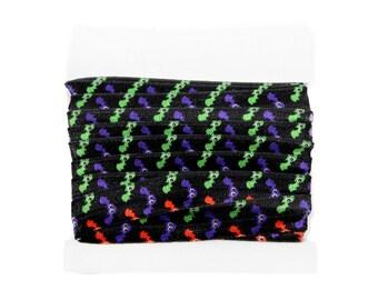Printed Elastic, FOE Halloween 5/8th inch Fold Over Elastic for DIY Headbands and Hair ties- 5 or 10 yards - Boo-tiful Bats