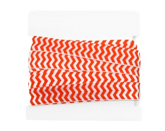 Chevron FOLD OVER elastic 5/8th inch - 5 yards - Orange and White