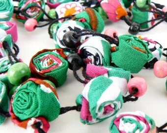 Multistrand fabric necklace, Long green necklace, Layered textile pink necklace, Ecofriendly cotton necklace, Hippie spiral jewelry, Mauve