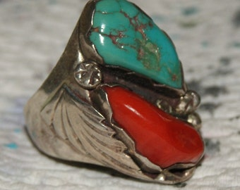 VERY OLD NIETO Navajo Ring Turquoise Sterling Signed