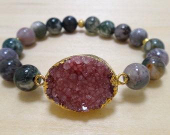 Fancy Jasper Beaded Bracelet with Pink Gold-Plated Druzy Charm
