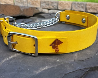 SALE The Anduril Collar: Yellow Adjustable Leather Martingale Dog Collar