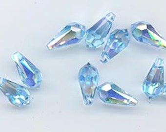 24 gorgeous and rare Swarovski pendants - art 6000 - 11 x 5.5 mm - aquamarine AB