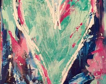 Navy and Mint Heart Painting, Teen Girls Room Art, Nursery  Decor Idea