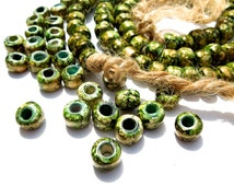 SUPPLY: Glass Crow Roller Beads - Macrame Beads - Large Hole Beads - (11-D1-00003023)