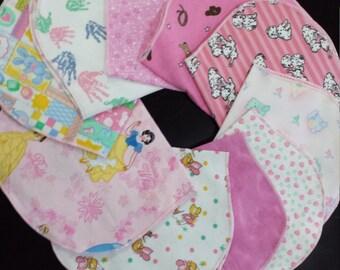 Burp rag, spit up rag, Burp Cloth set, Baby girl clean up cloth, pink absorbent shoulder burp cloth
