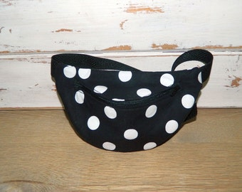 Fanny Pack - Hip Bag - Women and Teen Girls Hip Pouch - Black With White Polka Dots