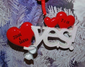Personalized Yes Engagement Christmas Ornament