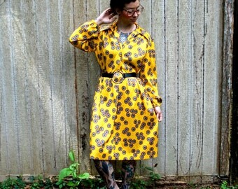 Mid Century Modern Vintage Yellow Flower Power Paisley Dress Medium