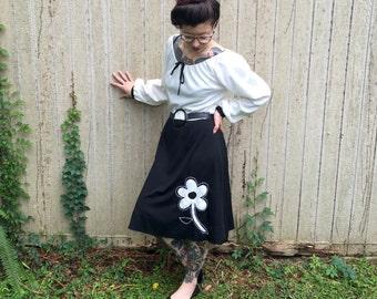 Mid Century Modern Mod Vintage Flower Power Dress M L White and Blue