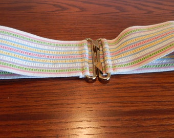 Vintage Pastel Elastic Belt Wide Stretch Striped Belt   Small Medium