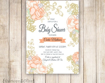 Peachy Rose and Gold Baby Shower Custom Invitations