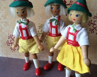 Vintage Wood Dolls Made in Poland Set of Three Folk Art Dolls Traditional Costume Wood Peg Dolls