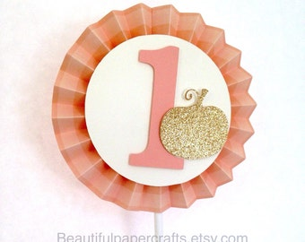 Gold Pumpkin Birthday decor | 1st Birthday Smash Cake Topper | Rosette Cake Decor | Gold Little Pumpkin Party | Fall Birthday Baby