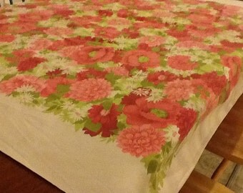 Vintage Pink Rose Cotton Tablecloth