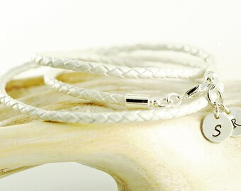 Personalized silver initial leather wrap bracelet , bridal jewelry, gift for her