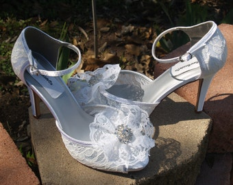 Wedding Lace Heels, Ivory High Heels Lace flower, WHITE lace shoes wedding,Peep Toe 3 1/2 inch heels, Bling Bride, Frilly Lace Flower, Ankle