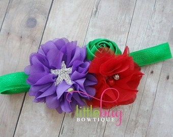 Mermaid Headband, Red Headband, Purple Headband, Starfish Headband, Green Headband, Under The Sea, Headband, girls, Baby, Toddler, birthday