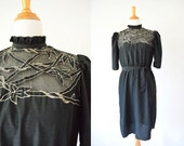 SALE! Vintage 1970's  Black Dress | Bamboo Leaves