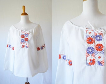 Vintage 1970's Tunic |  Floral Tunic with Bell Sleeve
