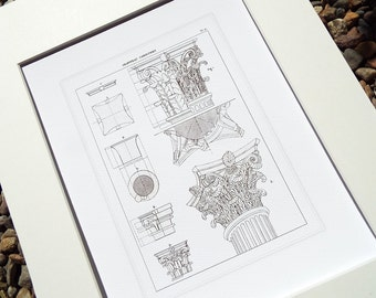 Architectural Print of Corinthian Capital Detail 2 on Heavy Watercolor Paper