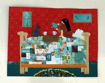 Tea time, rainy day with kitty cat, girl and cat drinking tea on bed, original collage, orange, blue, girl's bedroom art, mosiac