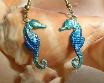 Seahorse   Earrings. Hand Painted.Blue and Teal.