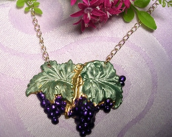 Medium Purple  Grape  Necklace . Hand Painted .