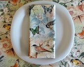 Dinner Napkins (4 ) with Birds, Butterflies, Dragonflies in Green, Blue and Peach, Spring Napkins, Easter Napkins, Spring Table Linens