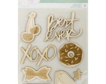 Dear Lizzy 8 Piece Self Adhesive Laser Wood Cutouts for Scrapbooks, Mixed Media Art, Card Making, Many Other Crafts