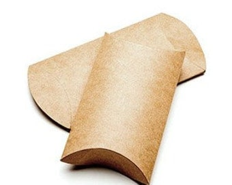 25 Brown Kraft Pillow Boxes 3 x 1 x 5 Inches, Usable Space 3x4 Inches, with Clear Seals Small Gift Packaging