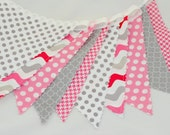 Bunting Banner - Birthday Party Decoration - Photography Prop - Baby Shower Garland - Gray and Pink - Dots and  Spots, Waves, Houndstooth