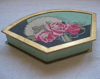 French candy box - stunning hand painted fan shaped chocolate box