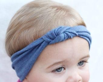 Baby Turban Headband, Blue Knot Turban Headband, Photo Props, Baby Hair Accessories, Baby Turbans, Baby Summer Turban, 4th of July Headband