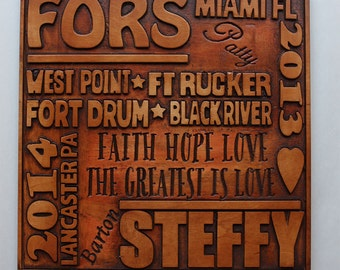 Wedding or Anniversary Commemorative Wood Carved Plaque