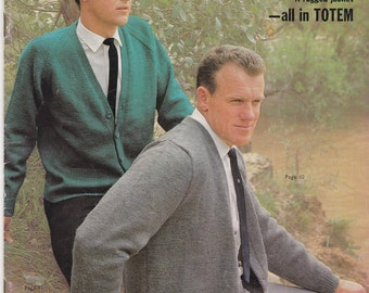 Knits for Men -  Casual Knits for Men in Totem Vintage Knitting Pattern Book No 732 -  Vintage 1960s, Jumpers, Sweaters, Cardigans, Jackets