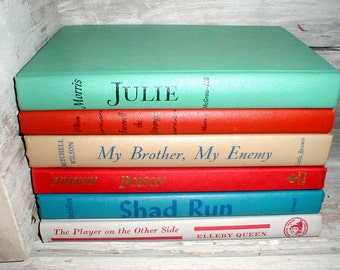 Six Vintage Books *Assorted Solid Colors* Library Display *Home Decor* Interior Design